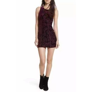 Free People Purple Velvet Floral Burnout Dress
